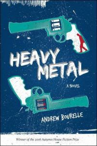 heavy metal cover (blue background with two turquoise pistols, one with a red silhouette of a boy in the handle)