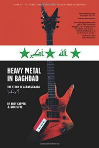 heavy metal in baghdad cover (red electric guitar over Iraqi flag background)