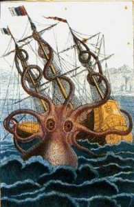 A drawing of the Kraken attacking a ship.