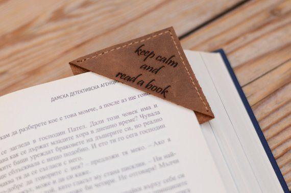 leather bookmark corner keep calm