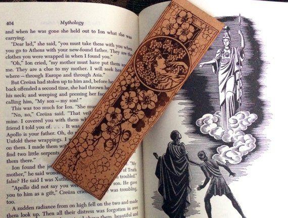 leather bookmark art nouveau