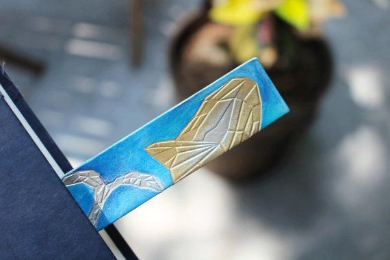 leather bookmark whale