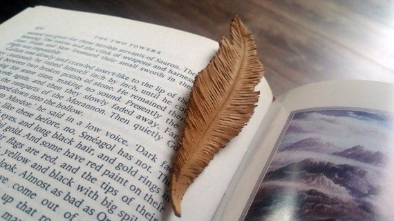 leather bookmark feather