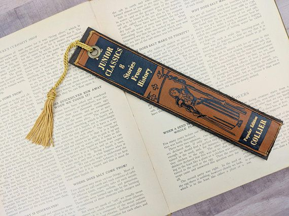 leather bookmark from 2nd hand book