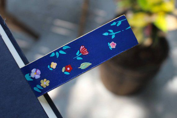 leather bookmark painted flowers