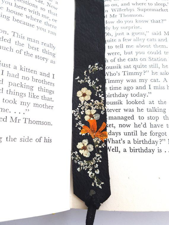 leather bookmark real flowers