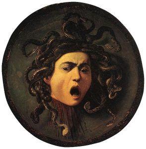 A Caravaggio painting of Medusa's severed head.
