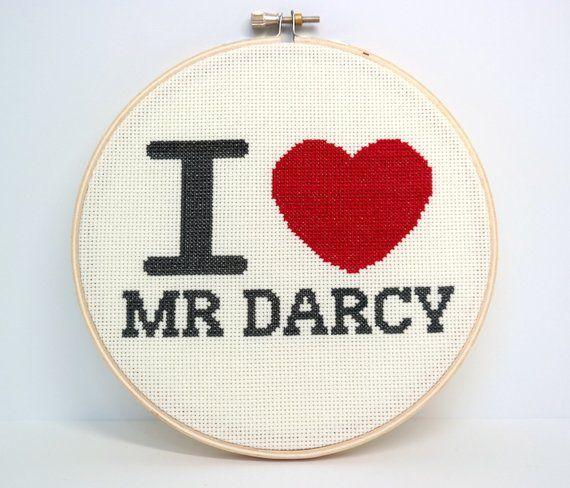 Jane Austen Mr Darcy cross stitch pattern