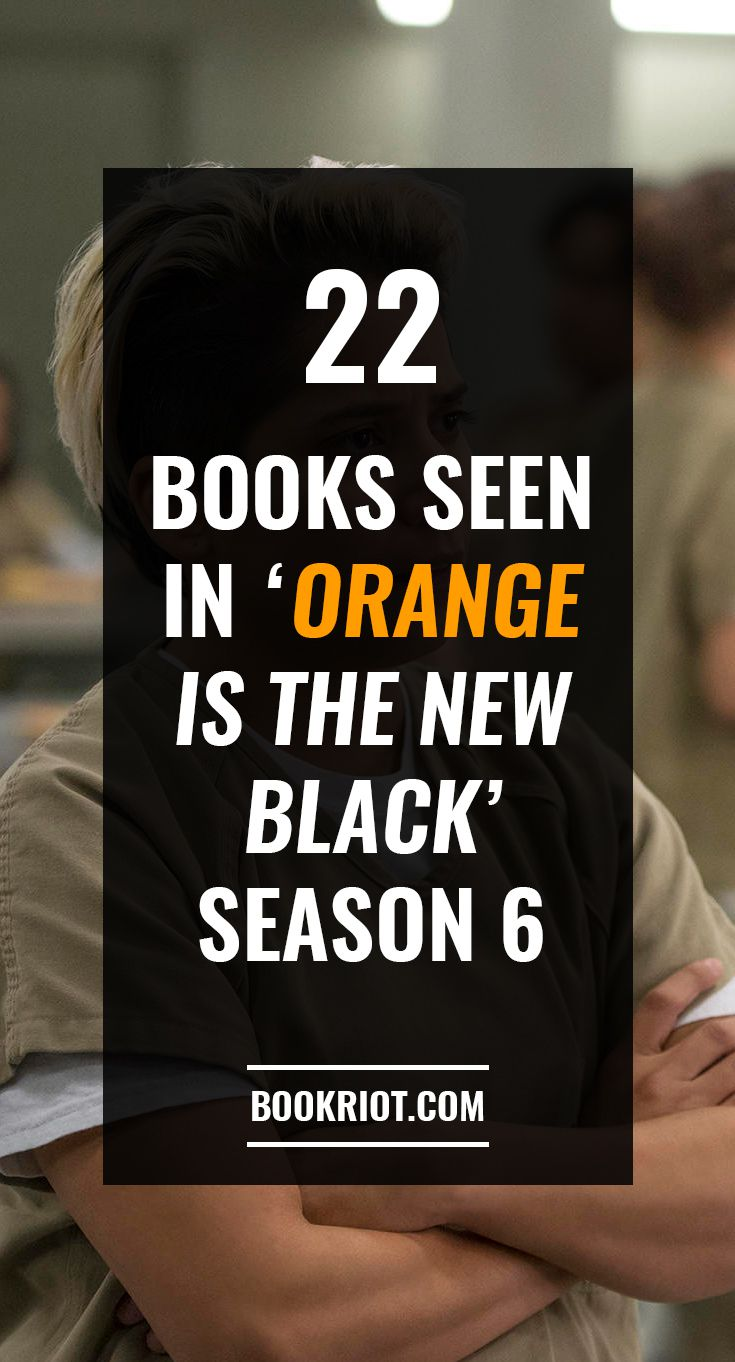 """Vicci Martinez as Daddy in Orange Is the New Black Season 6 Overlaid with Text: """"22 Books Seen in Orange Is the New Black Season 6"""""""