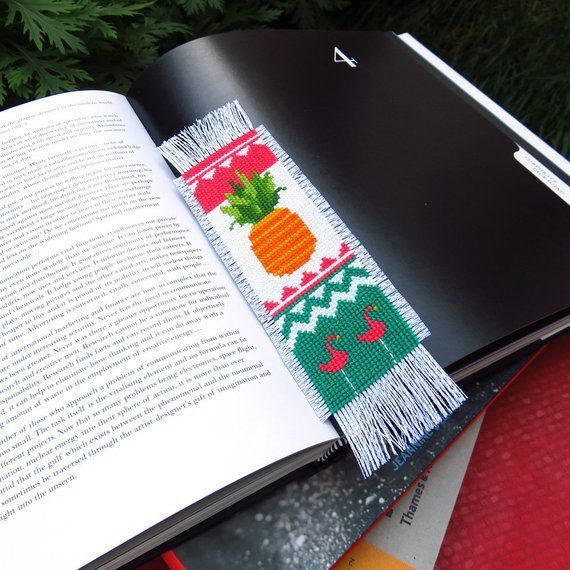 Pineapple cross stitch bookmark