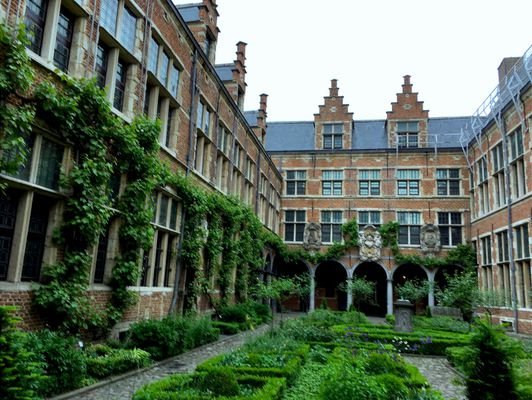 Garden and wall-climbing ivy within courtyard of Plantin-Moretus Museum