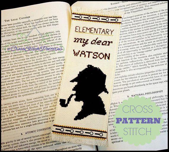 Sherlock Holmes cross stitch bookmark
