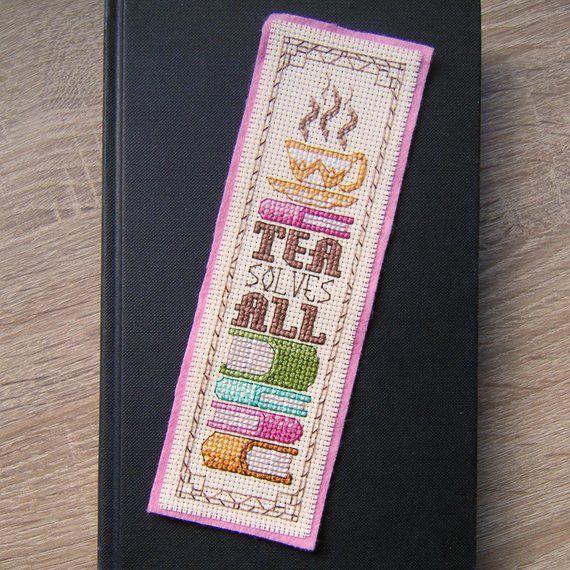 Tea and books cross stitch pattern