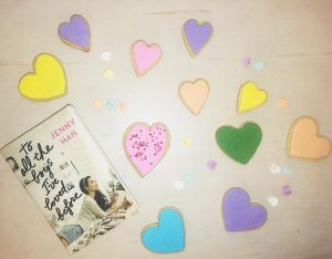TO ALL THE BOYS I'VE LOVED BEFORE book and heart-shaped sugar cookies