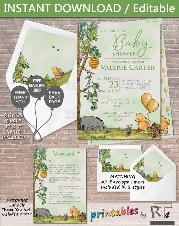 Classic Winnie the Pooh baby shower printable invitation with Eeyore, Piglet, Pooh, and Tiger