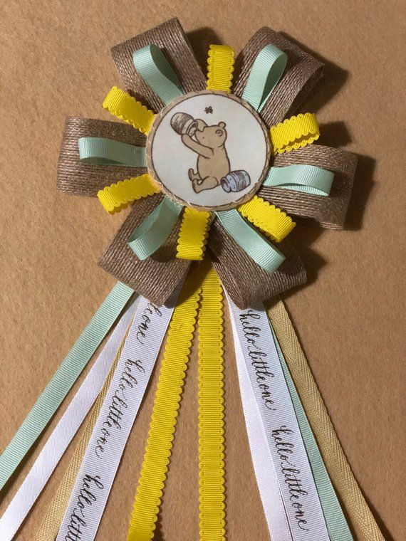 Winnie the Pooh baby shower mom to be ribbon corsage