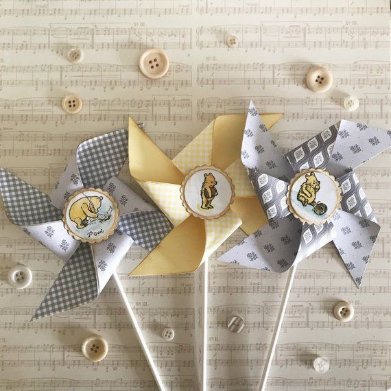 Winnie the Pooh pinwheels baby shower decorations