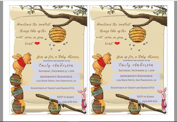 Winnie the Pooh with Piglet printable baby shower invitation