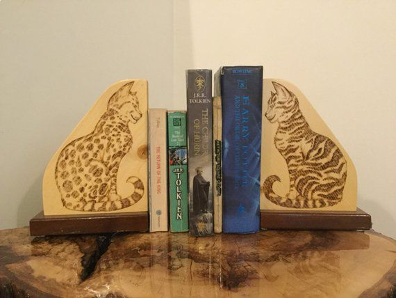 wood burned cat bookends