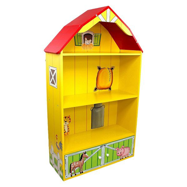 A bookcase with three shelves shaped like a yellow barn with a red roof