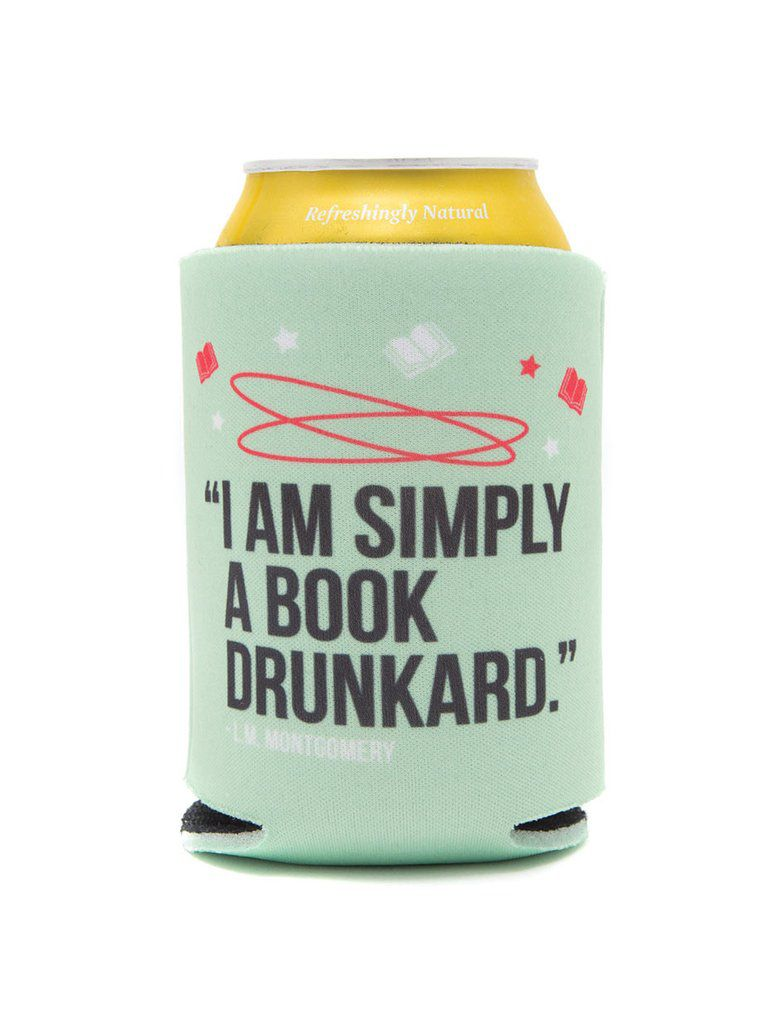"Book Coozie for Canned Beverages that read ""I am simply a book drunkard"""