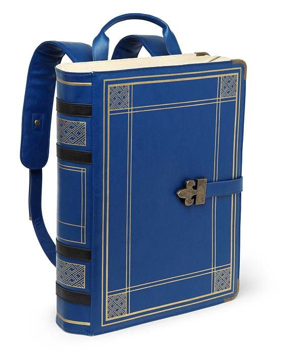 Backpack shaped like a vintage dark-blue book