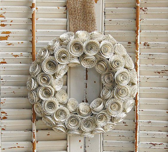 Wreath made from book pages shaped into roses