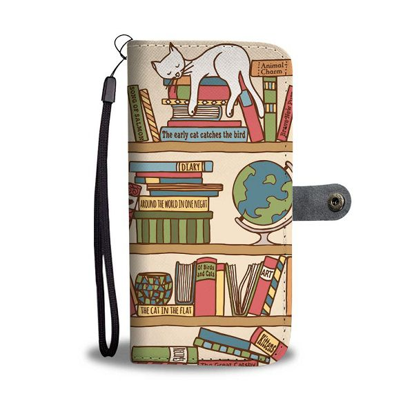 A wallet and iPhone case with a bookshelf with cats