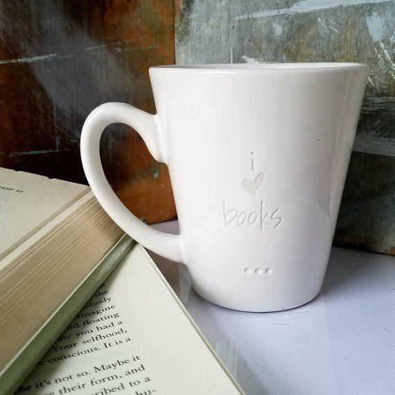 White mug with I Heart Books engraving