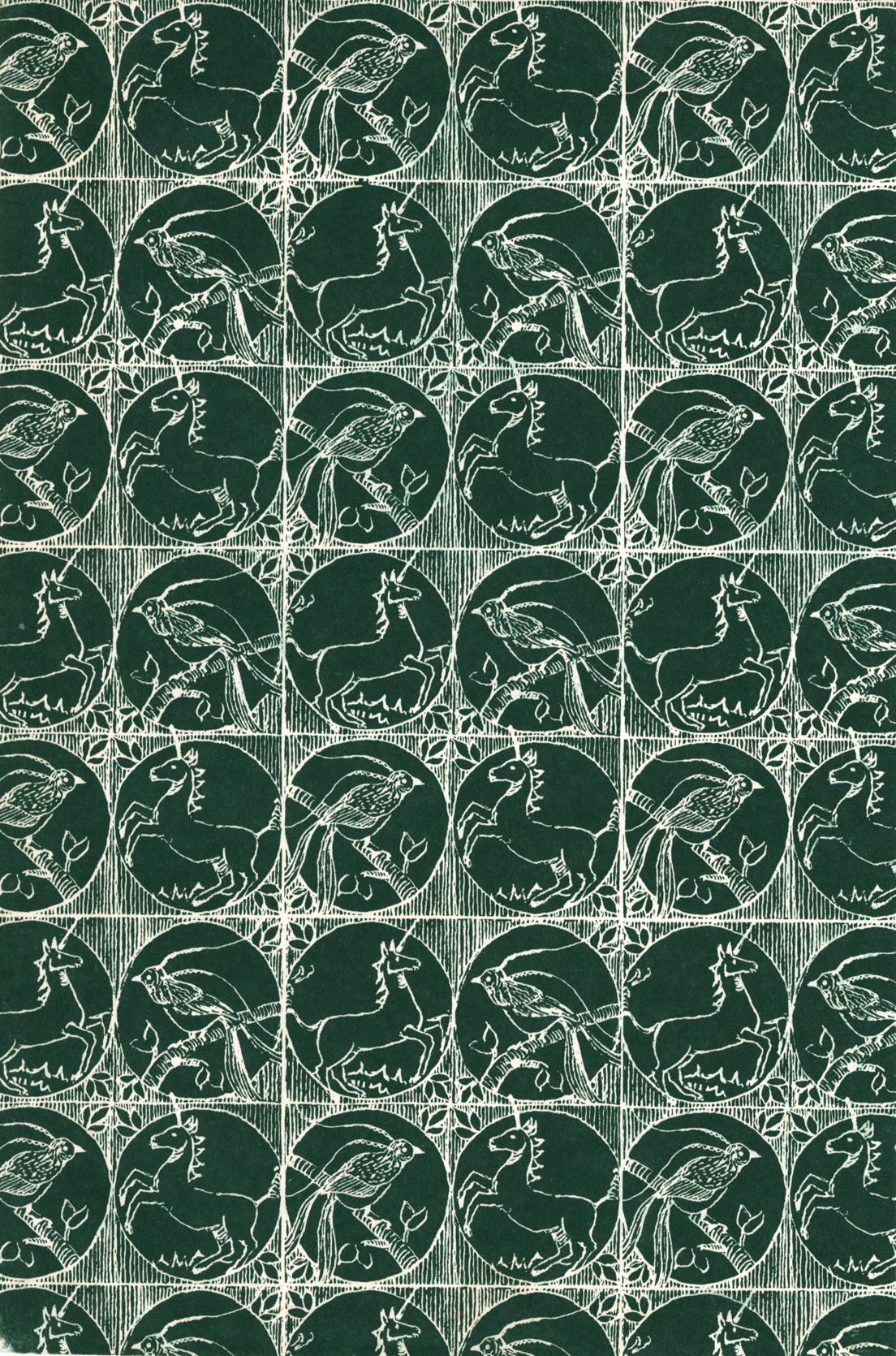 Green and white endpaper unicorn motif