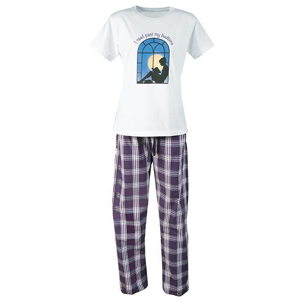 "Short sleeved pajamas that say ""I read past my bedtime"""