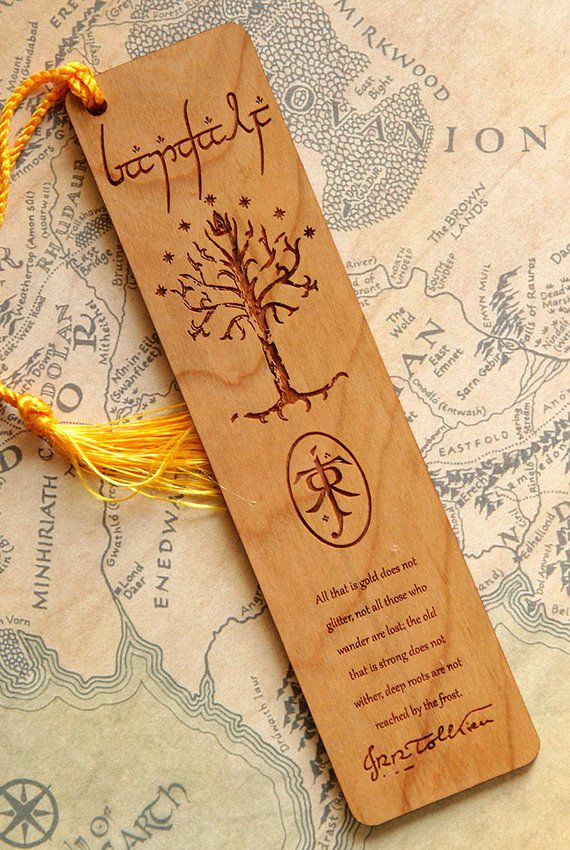 "Wooden bookmark engraved with Tree of Gondor and ""All that is gold"" poem"