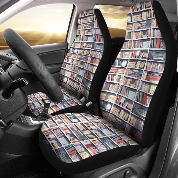 Cubiertas para asientos de automóviles con espinas de libros impresas en ellas
