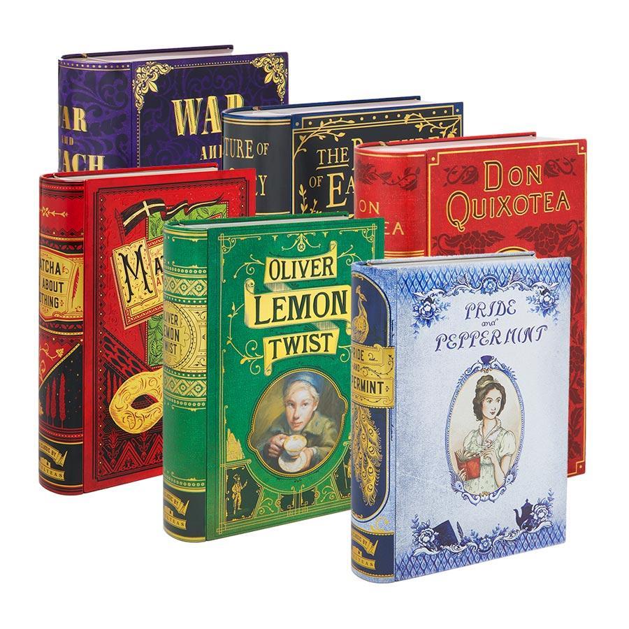 6 latas de té con forma de libros