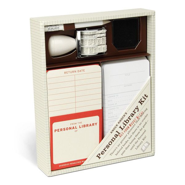 Personal library kits: Box of library checkout cards and date stamp