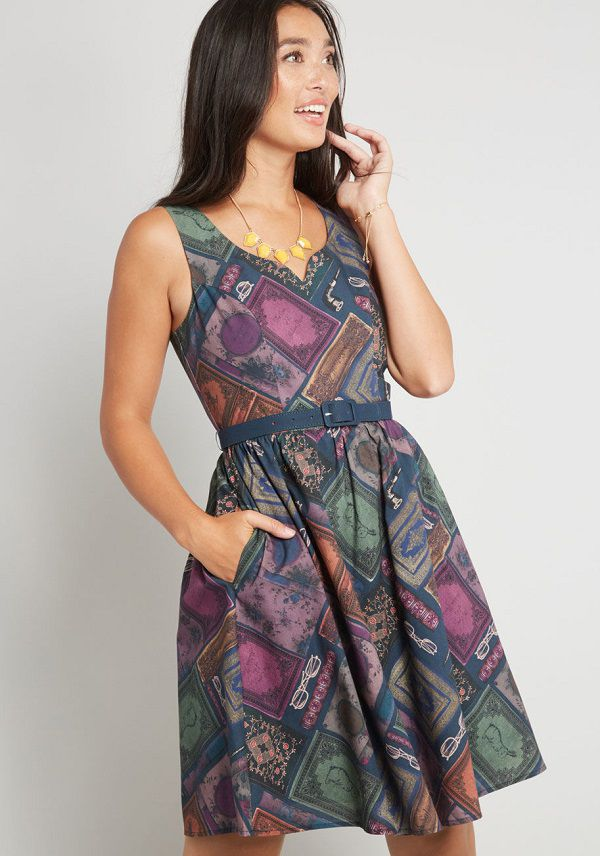 Sleeveless dress with vintage book covers