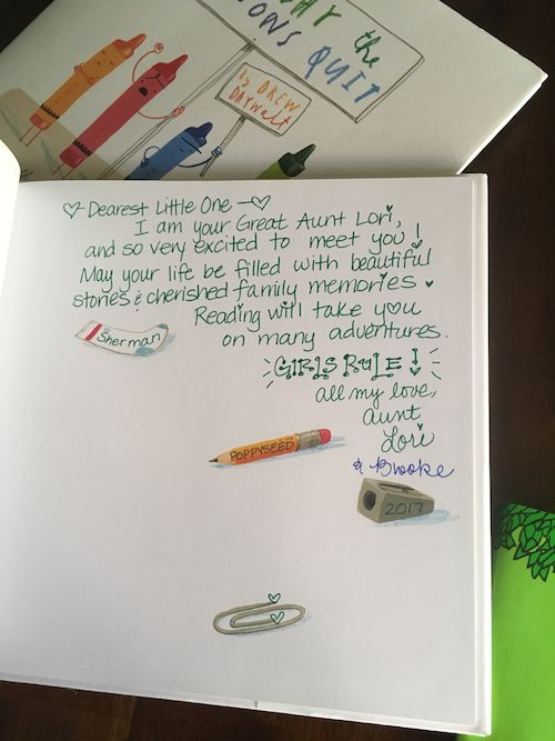 Inscription in a baby shower book.