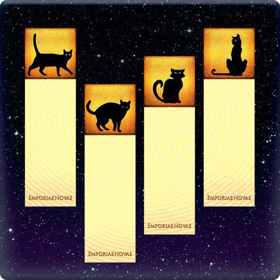 black cat halloween bookmarks