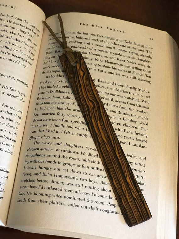 Thin wooden bookmark made of bocote wood