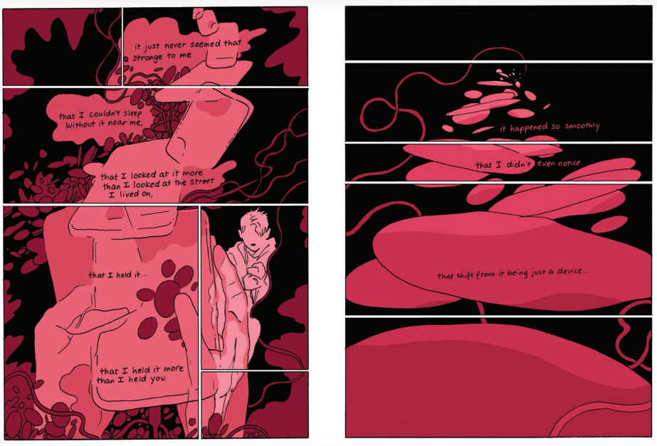 Swirly panels from Contours, a short story by Tillie Walden from I Feel Machine
