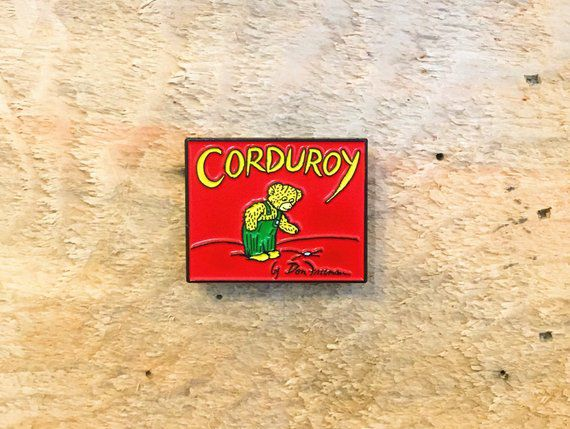corduroy bear enamel pin