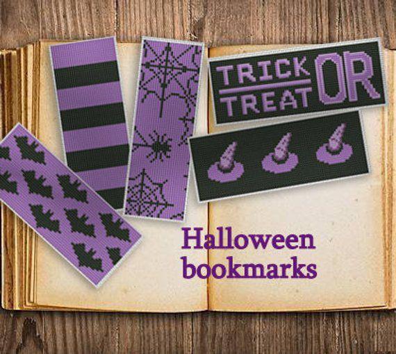 cross stitch halloween bookmarks