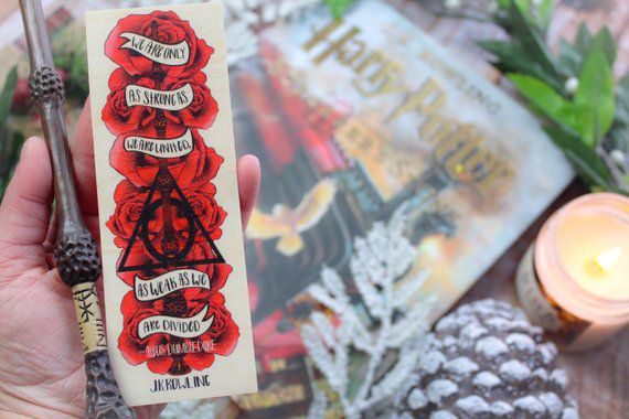 Wooden bookmark with red rose, Elder Wand, and Deathly Hallows symbol print