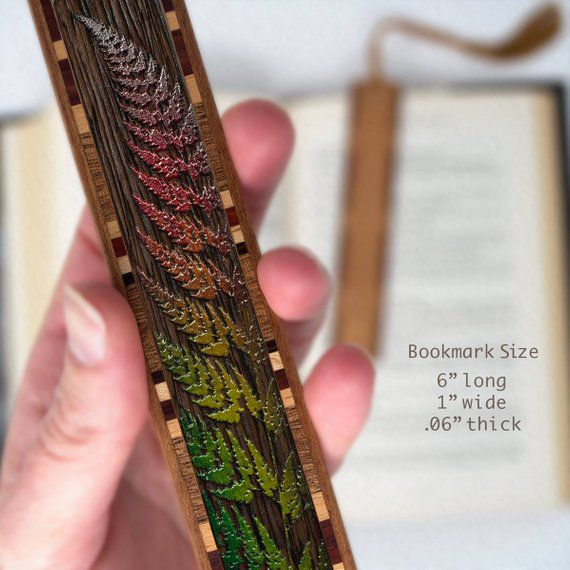 Wooden bookmark with colored fern engraving and border