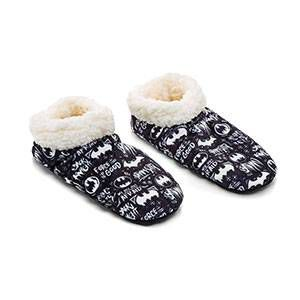 black Batman print sock slippers with fuzzy white inside