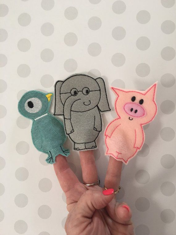 Mo Willems' Elephant, Piggie, and Pigeon Finger Puppets