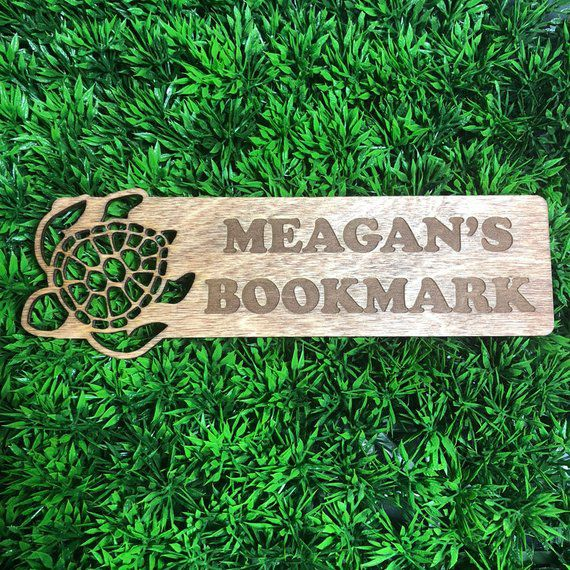 "Wooden bookmark with laser cut sea turtle and ""Meagan's bookmark"" engraved"