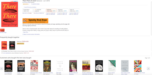 Screenshot of the Amazon page for There There by Tommy Orange