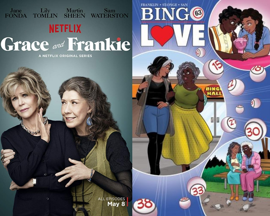 Grace and Frankie poster and Bingo Love cover