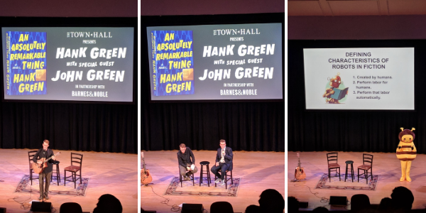 Hank and John Green at the New York event for Hank Green's new book, An Absolutely Remarkable Thing